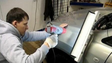 Выравнивание вмятин перед полированием кузова