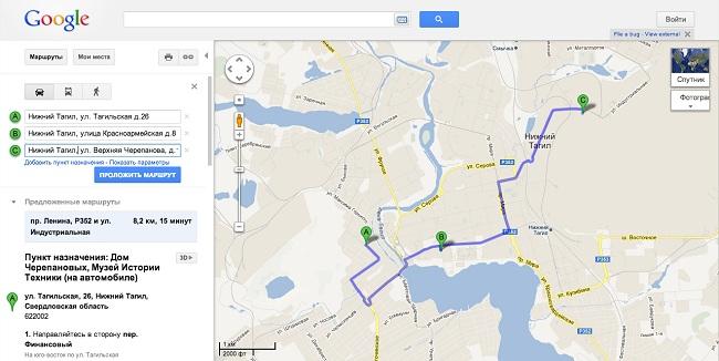 Прокладка маршрута по картам Гугл