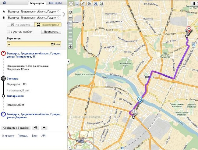 Прокладка маршрута по картам Яндекс