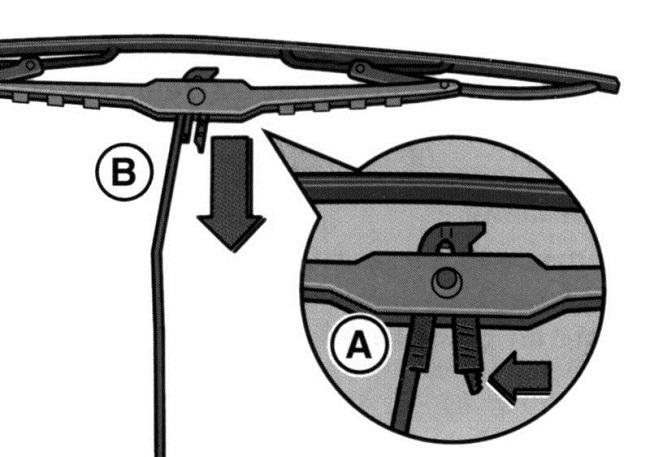 Снятие щётки стеклоочистителя (второй вариант исполнения)