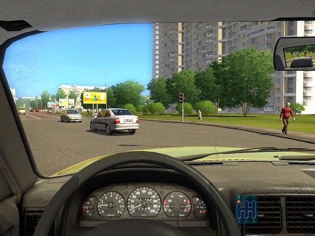 Симулятор вождения - вид изнутри машины