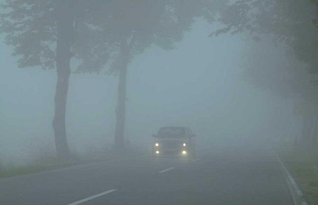 Условия плохой видимости на дороге из-за тумана