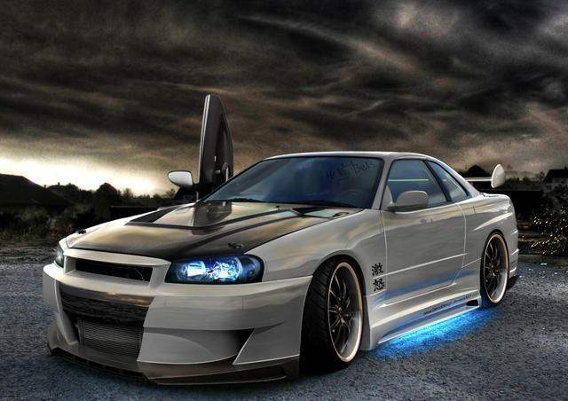 Голубая неоновая подсветка автомобиля