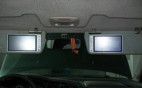 Автотелевизор на солнцезащитном козырьке