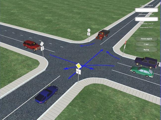 Задачи по проезду нерегулируемых перекрестков помогут подготовиться к практическому вождению