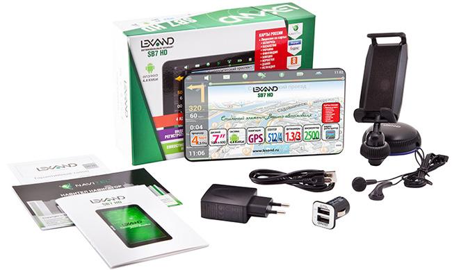 Комплект поставки автомобильного планшета LEXAND SB7 HD