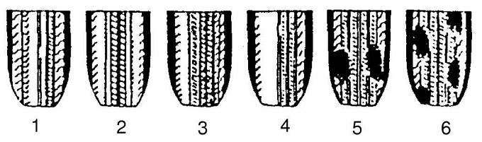 Причины неравномерного износа шин: 1 — повышенное давление; 2 — пониженное давление; 3 — неправильное схождение колес; 4 — неправильный развал колес; 5 — повышенное биение тормозного барабана; 6 — угловое колебание передних колес