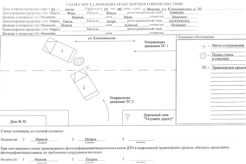 Образец заполнения схемы места ДТП