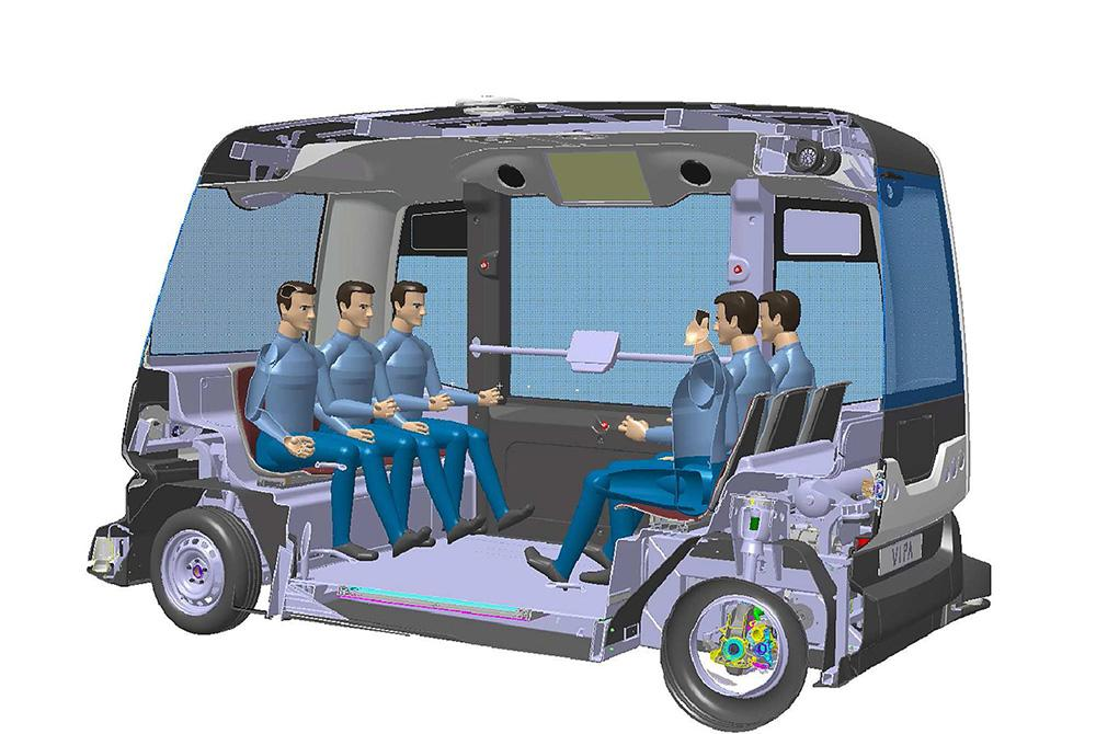 Роботизированное автономное электрическое транспортное средство вмещает до 6 человек