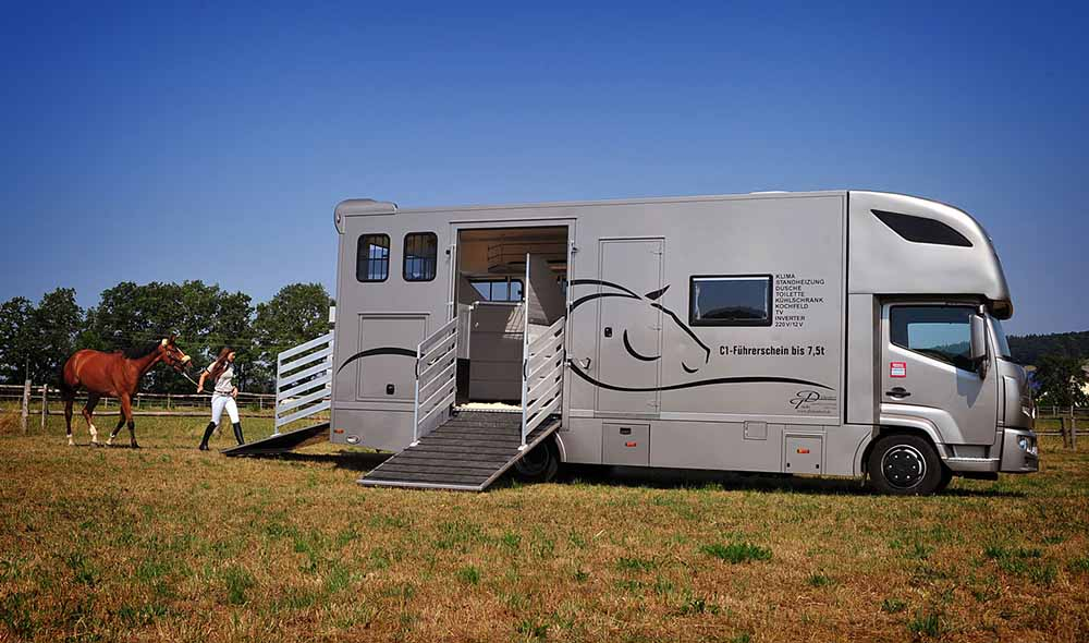 Коня можно вывести из бокса через заднюю часть фургона и с правой стороны