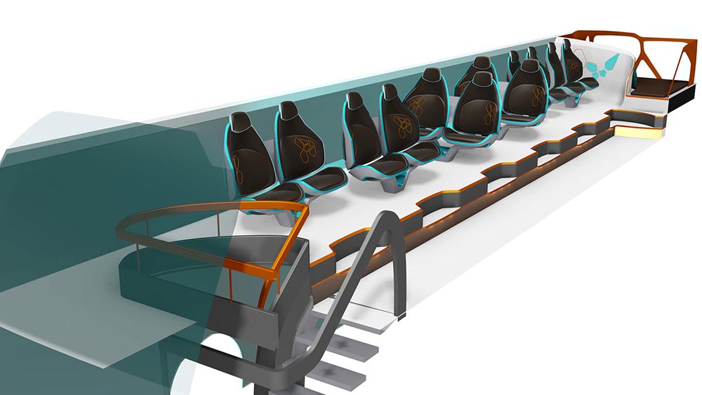 Пассажирские сидения расположены вдоль стен