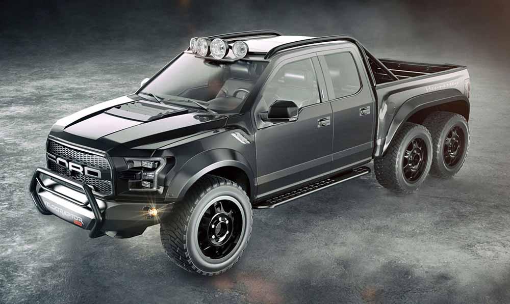 Шестиколёсная версия создана на основе пикапа Ford F-150 SVT Raptor