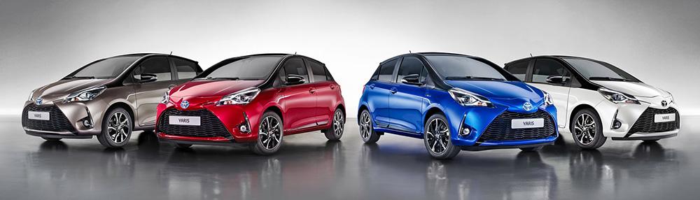Различные цветовые комбинации кузова Toyota Yaris