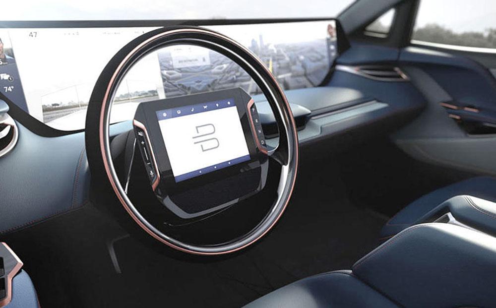 В центре рулевого колеса сенсорный экран