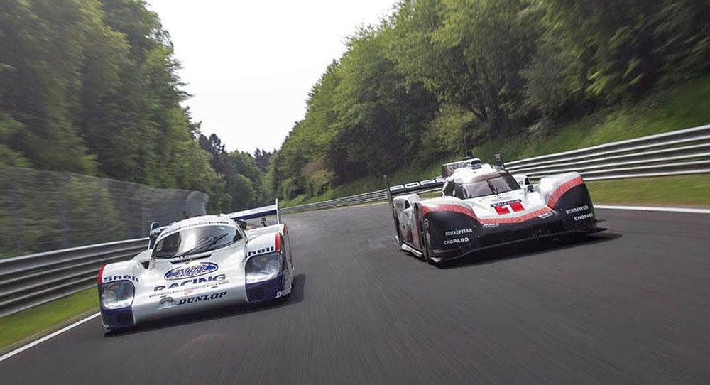 Модели 919 Hybrid и 956 C на гоночном треке
